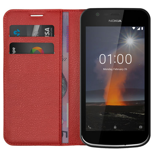 Leather Wallet Case & Card Slot Holder for Nokia 1 - Red